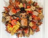Fall Wreath - Owl Wreath - Autumn Wreath - Halloween Wreath - The Whispering Wreath