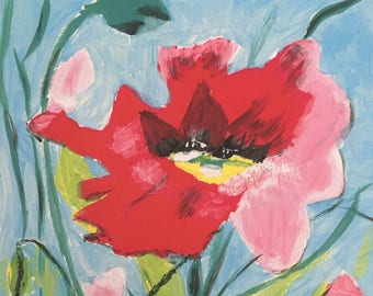 """Red and Pink Flowers Art Print 8"""" x 10"""""""