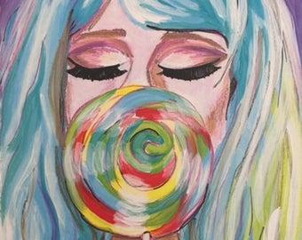 "Lollipop Lady Art Print 8"" x 10"""