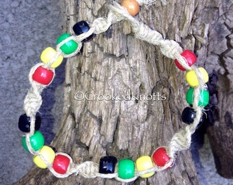 Hemp Rastafari Beaded Bracelet