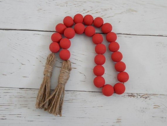 Farmhouse red wood bead garland with jute tassels, boho home decor, jewelry for the home, rustic bead garland, farmhouse beads