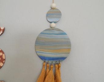 READY TO SHIP Marbelized clay wall decor, boho decor, ocean inspired decor, blue and gold decor