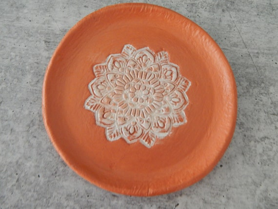 READY TO SHIP Clay trinket dish, handmade clay dish, gift for her, bridesmaid gift, terracotta ring dish, wedding favor