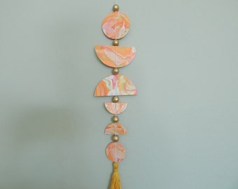 READY TO SHIP Marbelized clay wall decor, boho decor, modern boho decor, pink and gold
