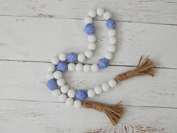 READY TO SHIP Jumbo blue and white wood bead garland with fused glass beads, boho home decor, beach decor
