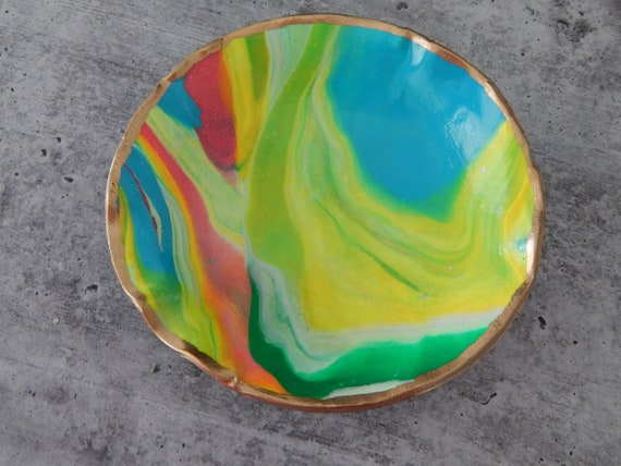 READY TO SHIP Handmade polymer clay trinket dish, multicolored marbelized dish, jewelry storage dish, gift for her