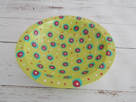 READY TO SHIP Decorative painted wood bowl, oval style bowl, trinket dish, hand painted wood bowl, boho decor, bohemian style bowl
