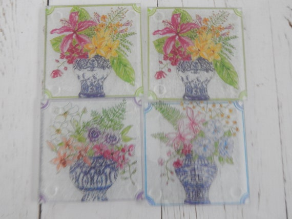 Square glass ginger jar print coasters, decoupage decor, table accessories, chinoiserie
