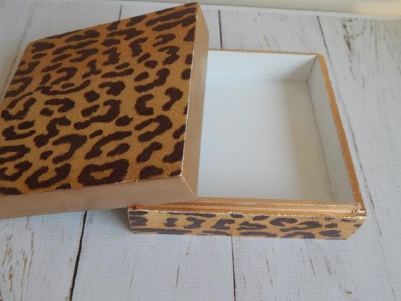 Leopard square wooden jewelry box, decoupage box, home decor, coastal decor