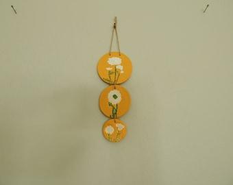 READY TO SHIP Air dry clay wall hanging, boho wall decor, botanical decor, dandelion