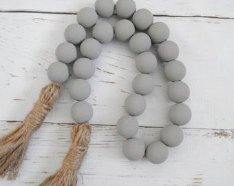 Medium gray wood bead garland with jute tassels, boho home decor, jewelry for the home, rustic bead garland, farmhouse beads