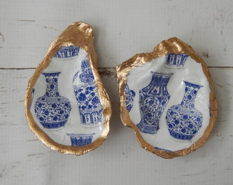 READY TO SHIP Decorative oyster shell ring dish, chinoiserie ginger jar, decoupage shell decor