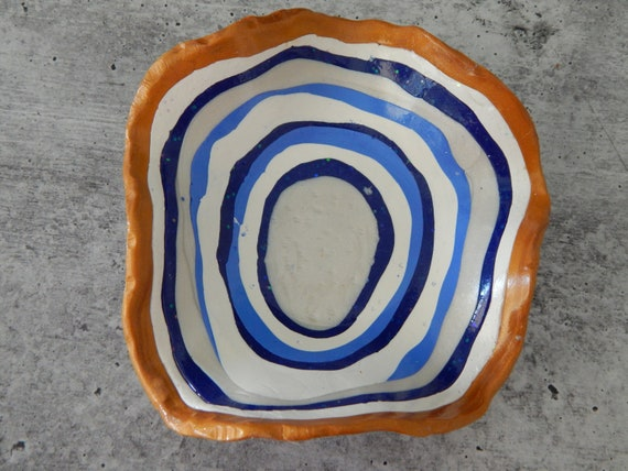 READY TO SHIP Handmade polymer clay trinket dish, blue and white, jewelry storage dish, gift for her