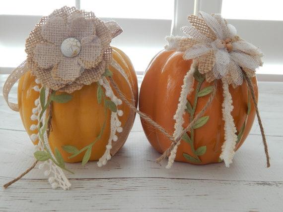 Ceramic pumpkin thanksgiving day decor, fall home decor, table center piece, rustic