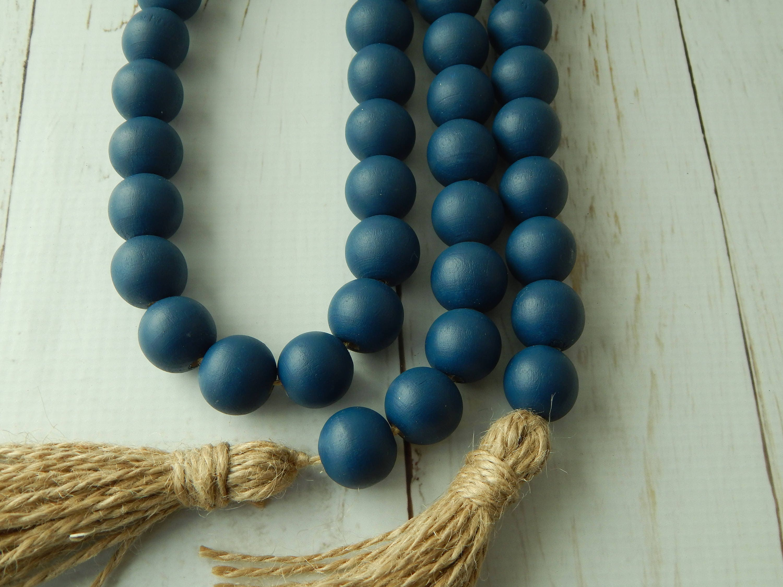 Navy Blue Wood Bead Garland With Jute Tassels Boho Home