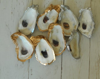 READY TO SHIP Decorative oyster shell ring dish, silver or gold oyster shell, home decor, coastal wedding