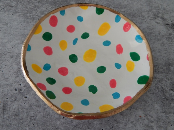 READY TO SHIP Handmade polymer clay trinket dish, multicolored polkadot dish, jewelry storage dish, gift for her