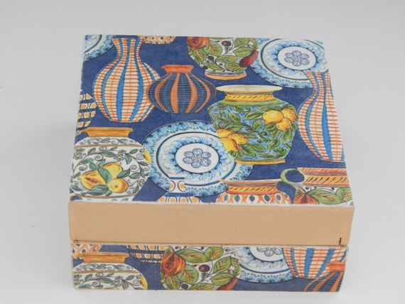 Ginger jars square wooden jewelry box, decoupage box, home decor, coastal decor
