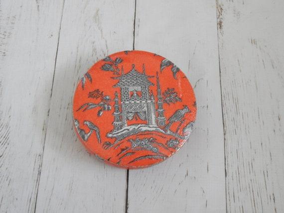 Chinoiserie round wooden jewelry box, red pagoda decoupage box, trinket box