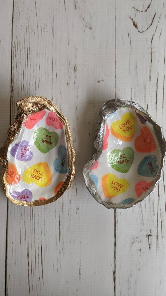 READY TO SHIP Decorative Valentines day oyster shell ring dish, decoupage shell