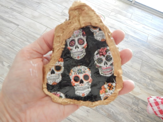 READY TO SHIP Decoupage oyster shell with skeleton design, oyster shell ring dish decor, halloween decor