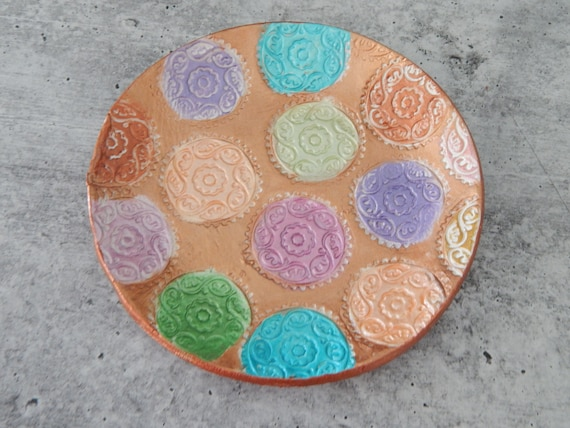 READY TO SHIP Clay trinket dish, handmade air dry clay dish, gift for her, ring holder, copper dish