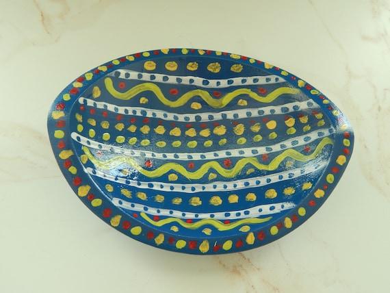 READY TO SHIP Decorative painted wood bowl, wedge style bowl, trinket dish, hand painted wood bowl, boho decor, bohemian style bowl