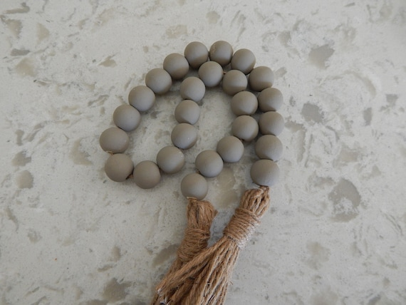 Dark taupe wood bead garland with double jute tassel, jewelry for the home, farmhouse beads, blessing beads