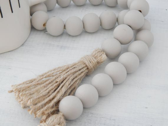 Light gray wood bead garland with jute tassels, boho home decor, jewelry for the home, rustic bead garland, farmhouse beads