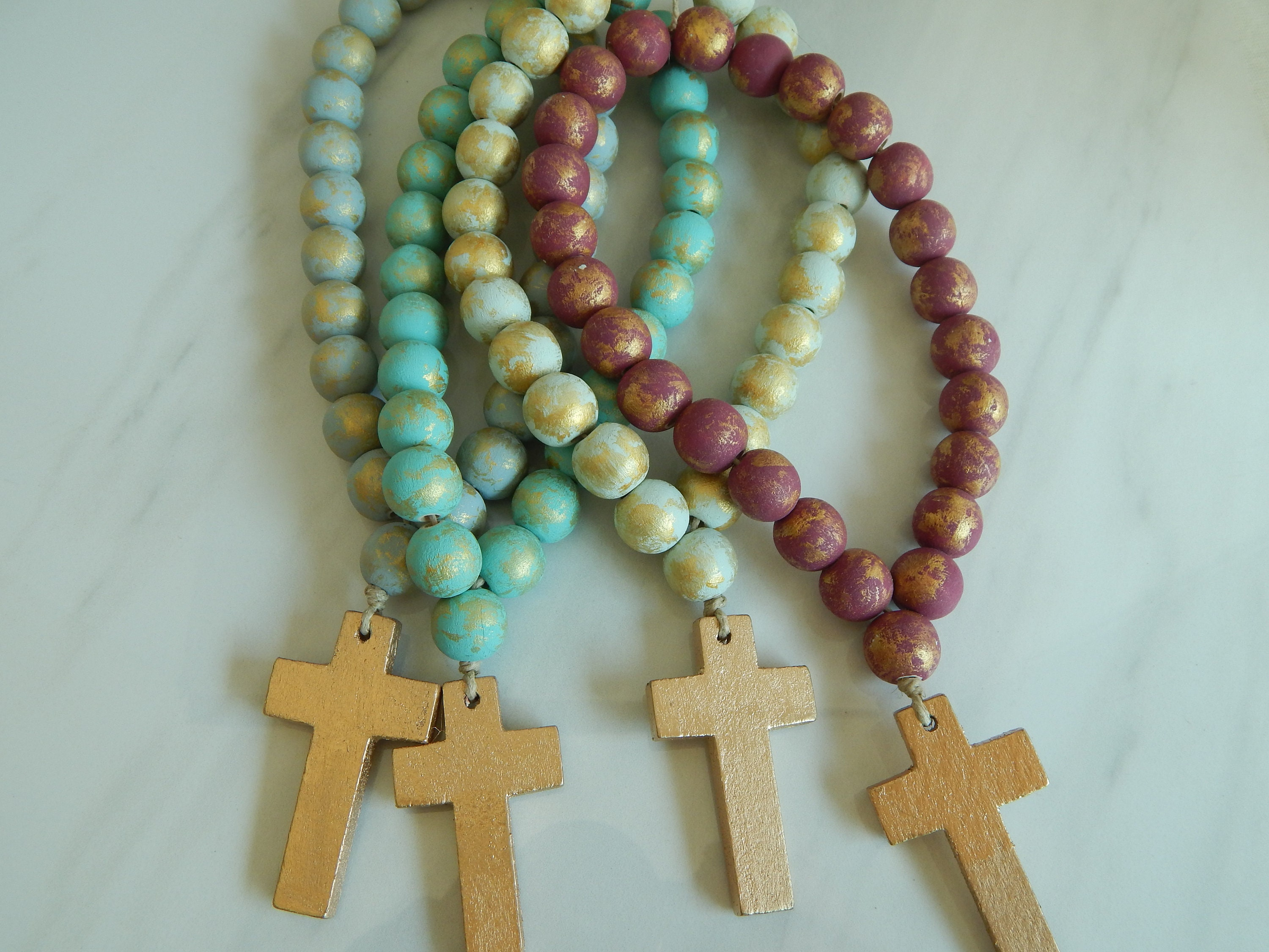 Ready To Ship Wood Loop Garland With Wood Cross Jewelry For The Home Beach Home Vase Decor