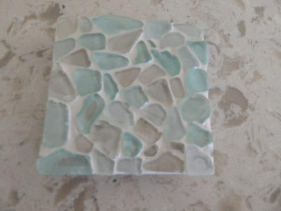 Mosaic sea glass coasters, beach boho decor, aqua blue sea glass, square coasters
