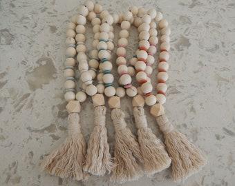 Wood loop garland with cotton tassel, boho wall decor, natural wood decor, housewarming gift