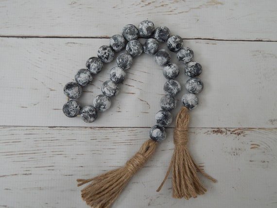 Distressed wood bead garland with double jute tassel, jewelry for the home, farmhouse beads, rustic decor