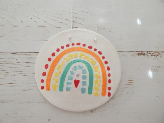 READY TO SHIP Rainbow air dry clay wall hanging, boho wall decor, handmade wall decor