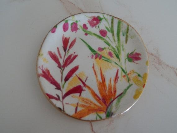 Handmade air dry clay dish, floral design, jewelry storage dish,handmade gift, decoupage dish