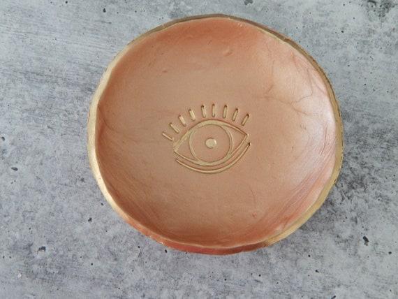 READY TO SHIP Clay trinket dish, handmade clay dish, gift for her, bridesmaid gift, polymer clay dish, evil eye ring dish