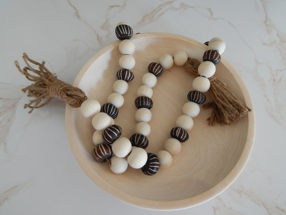 READY TO SHIP Wood bead garland with striped african bone beads, boho home decor, beach decor
