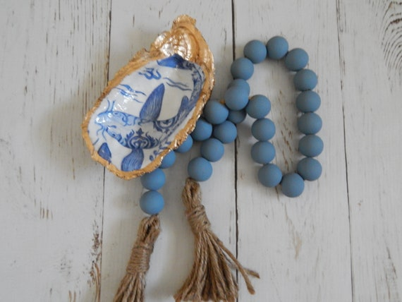 Farmhouse blue wood bead garland with jute tassels, boho home decor, jewelry for the home, rustic bead garland, farmhouse beads