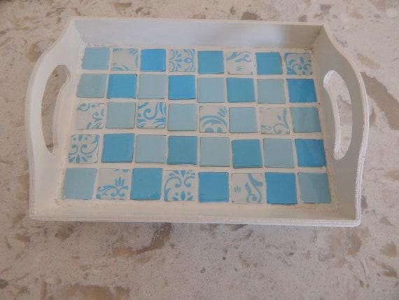 Glass mosaic wood tray, boho home decor, trinket wood tray, jewelry tray, glass tile