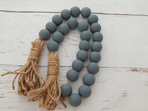Blue gray wood bead garland with jute tassels, boho home decor, jewelry for the home, rustic bead garland, farmhouse beads