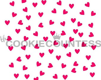 The Cookie Countess SCATTERED HEARTS Stencil