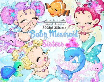 94a4f80f606a7 Baby Mermaid Sisters Clipart,Cute Unicorn Girl Clip art,Digital Download  Planner sticker Fish Turtle Dolphin Starfish Seahorse Flower Pretty