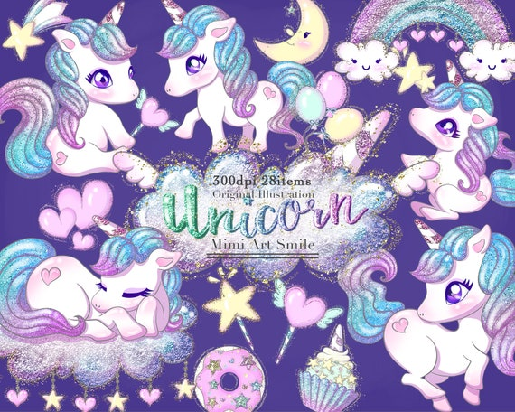 Cute Glitter Unicorn Clipart Setrainbow Unicorns Clip Art Etsy