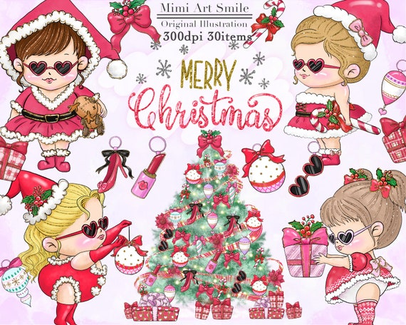Christmas Party Images Clip Art.Christmas Girl Clipart Merry Christmas Girls Clip Art Santa Costume Christmas Party Pretty Santa Cute Kawaii Chibi Sticker Winter Png Tree