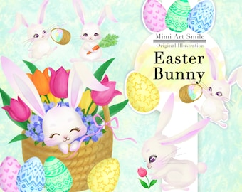 Easter Bunny. Rabbit Digital PNG clipart, Downloadable Printable cute Animal Spring Tulip basket carrot egg flowers kawaii smile clip art
