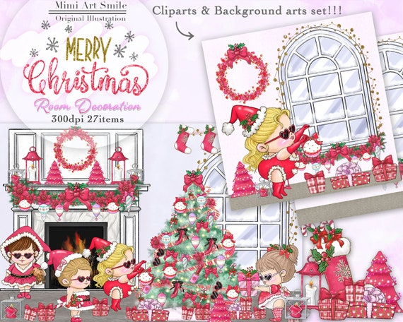 Christmas Decorating Clip Art.Christmas Girls Room Decoration Clipart Merry Christmas Ornaments Clip Art Christmas Party Deco Fireplace Window Candle Christmas Wreath Pmg