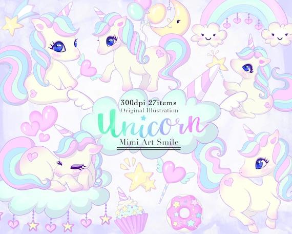 Cute Unicorn Clipart Set Rainbow Unicorns Clip art Digital Downloadable  Planner sticker Cupcake Donut Ribbon Star Kawaii Moon Balloon font