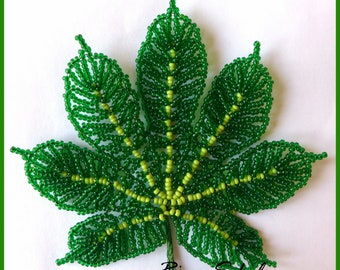 PDF PATTERN - french beaded flowers, Beaded Fatsia, seed bead flowers, green leaf, DIY beading project, tutorial, beaded flowers patterns