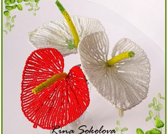PDF PATTERN - French beaded Anthuriums, seed bead flowers, wire wrapping, DIY beading project, tutorial, spring flowers
