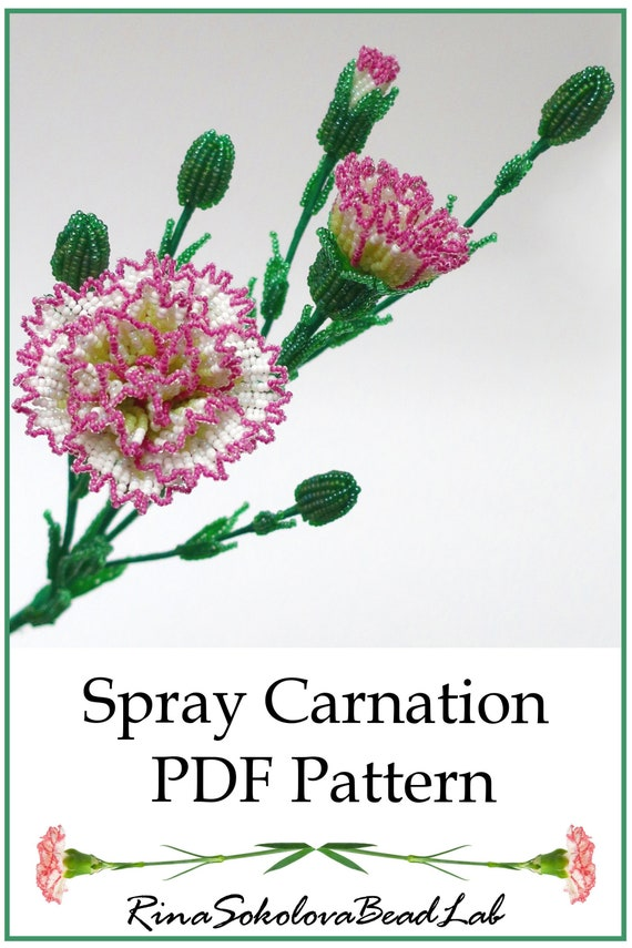 Pdf Pattern French Beaded Spray Carnations French Beaded Etsy